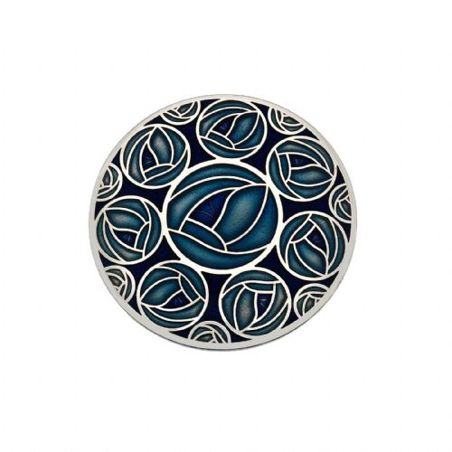 42mm Mackintosh Rose Brooch Blue Silver Plated Brand New Gift Packaging